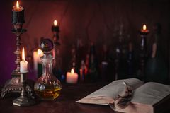 Free Magic Potion, Ancient Books And Candles Stock Photography - 110818072