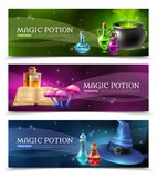 Magic Potion Banners. Horizontal realistic colorful banners set with mysterious magic potion and other witchcraft stuff  vector illustration Royalty Free Stock Photos