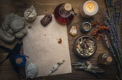 Magic potion and blank recipe scroll. Phytotherapy. Alternative herbal medicine. Shaman. Druidism. Magic potion ancient recipe scroll with copy space Royalty Free Stock Photos