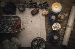 Magic potion and blank recipe scroll. Phytotherapy. Alternative herbal medicine. Shaman. Druidism. Magic potion ancient recipe scroll with copy space Stock Photo