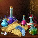 Magic Potion Jars Composition Stock Photos