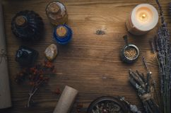 Magic potion. Phytotherapy. Alternative herbal medicine. Shaman. Druidism. Magic potion. Alternative herbal medicine. Shaman table with copy space. Druidism Royalty Free Stock Images