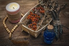 Magic potion. Phytotherapy. Alternative herbal medicine. Shaman. Druidism. Magic potion. Alternative herbal medicine. Shaman table with copy space. Druidism Stock Image