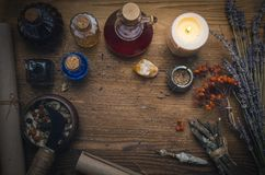 Magic potion. Phytotherapy. Alternative herbal medicine. Shaman. Druidism. Magic potion. Alternative herbal medicine. Shaman table with copy space. Druidism Stock Images