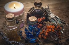 Magic potion. Phytotherapy. Alternative herbal medicine. Shaman. Druidism. Magic potion. Alternative herbal medicine. Shaman table with copy space. Druidism Royalty Free Stock Photography