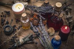 Magic potion. Phytotherapy. Alternative herbal medicine. Shaman. Druidism. Magic potion. Alternative herbal medicine. Shaman table with copy space. Druidism Stock Photos