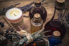 Magic potion. Phytotherapy. Alternative herbal medicine. Shaman. Druidism. Magic potion. Alternative herbal medicine. Shaman table with copy space. Druidism Stock Photo