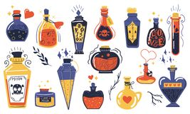 Free Magic Potions. Alchemist Cartoon Bottles With Love Potion And Magical Elixir, Witch And Wizard Magic Vials. Witchcraft Stock Images - 208331344