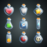 Magic potions for game. Power ups and bonuses for game Stock Photography