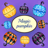 Magic pumpkin and oval space for text Stock Photos
