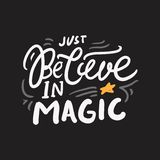 Magic quotes set for your design. Hand lettering illustrations stock illustration