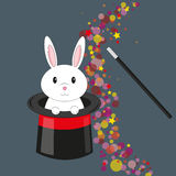 Magic rabbit in the hat. Vector. Illustration of a cute rabbit coming out from an hat with a magic cloud of bubbles and stars. Eps available Stock Image