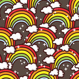 Magic rainbows pattern. Vector seamless cute pattern with cute rainbows and clouds Stock Photos