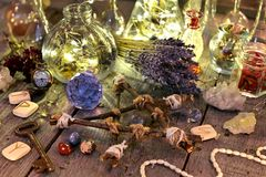 Free Magic Ritual Collection With Bottles, Lavender Flowers, Pentagram, Runes And Crystals Stock Photos - 109382363