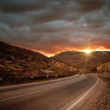 Magic Road Without Cars And Sunset Royalty Free Stock Photos