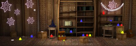 Magic room. With diff. potions Stock Photo