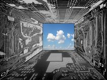 Magic room. Skyscape framed by desaturated computer circuit boards royalty free stock images