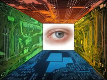 Magic room. Human eye framed by  computer circuit boards Stock Images
