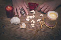 Magic runes for future reading and divination. Runestone reading. Runestone reading. Scandinavian runes divination. Future reading Royalty Free Stock Photography