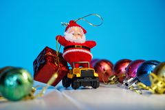 Magic Santa on a car carries gifts for the kids. 2019 stock photo