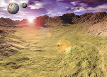 Magic scenery. Computer rendered scenery, mountains and planets Royalty Free Stock Photography