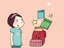 Magic schoolbag. A girl looks at a magic schollbag! Digital colors Royalty Free Stock Photo