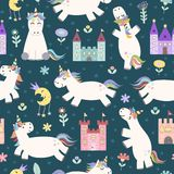 Magic seamless pattern with cute little unicorn and castles. Magic seamless pattern with cute little unicorn, castles, stars and flowers. Vector texture in Stock Image