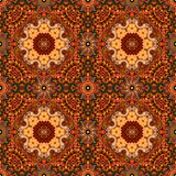 Magic seamless pattern with flower - mandala on bright ornamental background. Unique carpet, unusual wallpaper, beautiful print for fabric. Moroccan, turkish Stock Photography
