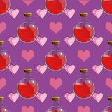 Magic seamless pattern with love potion in a bottle - vector illustration Stock Photo