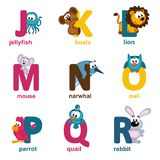 Magic seamless pattern with unicorn and planetsalphabet animals from J to R. Alphabet animals from J to R - vector illustration Royalty Free Stock Photo