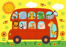 Magic Seamless Pattern With Unicornfunny London Bus With Animals Royalty Free Stock Photography