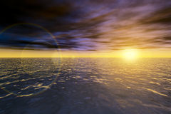 Magic seascape. Ocean sunset. 3D seascape. Magic ocean sunset. Image with direct sun and lens flare Royalty Free Stock Images