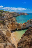 Magic seascapes Albufeira. In summer, the clear waters. Portugal. Stock Photography