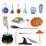 Magic set with owl vector illustration