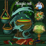 Magic set of tools for witchcraft and spells Royalty Free Stock Photography