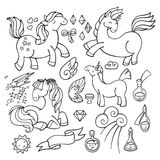 Magic set of unicorns, wings and potions. Royalty Free Stock Photography