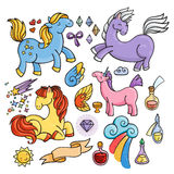 Magic set of unicorns, wings and potions. Stock Photos