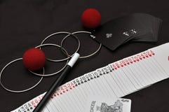 Magic Set With Trick Cards Stock Photos