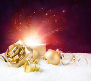 Magic shining of christmas present Stock Photography