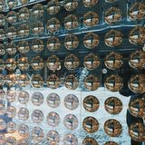 magic shiny balls in a shop window, Kiev Stock Photography