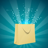 Shopping bag with blue light. Royalty Free Stock Image
