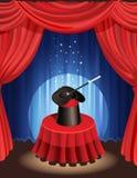 Magic show. Vector illustration - magic hat and magic wand Stock Images