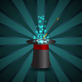 Magic show background with realistic magician hat stick and fire Royalty Free Stock Images