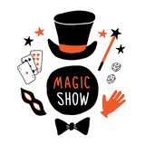 Magic show banner. Magician top hat, mask, cards, glove, magic wand, illusionist performance. Funny doodle hand drawn illustration vector illustration