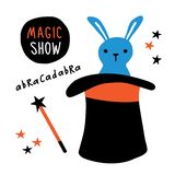 Magic show banner. Rabbit in top hat, magic wand, illusionist performance. Funny doodle hand drawn vector illustration