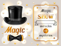 Magic show card. Miracles and mysteries. Invitation to entertainment Royalty Free Stock Image