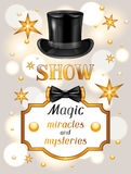 Magic show card. Miracles and mysteries. Invitation to entertainment Stock Image