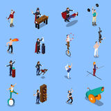 Magic Show People Isometric Set. People from magic show isometric set with illusionist strongman gymnasts juggler artist with fire isolated vector illustration Royalty Free Stock Photos