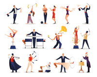 Magic Show People Set. Of juggler acrobat illusionist assistant colored figurines flat isolated vector illustration Royalty Free Stock Photo