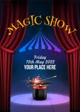 Magic Show poster design template. Illusion magical vector background. Theater magician flyer with hat trick.  vector illustration